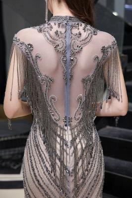 High Neck Short Sleeves Sheer Beaded Fitted Glittering Prom Dresses_13
