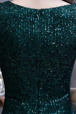 V-neck Cap Sleeves Floor Length Emerald Fitted Sequin Prom Dresses_15