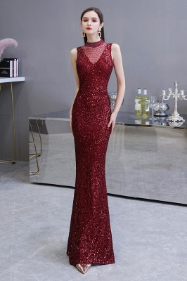High Neck Sleeveless Floor Length Sparkly Sequin Fitted Prom Dresses_3