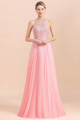 Halter Full Back Applique Beaded Pearls Chiffon A Line Prom Dresses_22