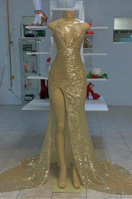 Halter Silver V-neck High Split Sequin Column Prom Dresses_1