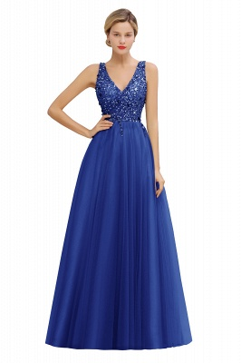 Sleeveless A-line Sequin Tulle Prom Dresses | Cheap Evening Dress_3