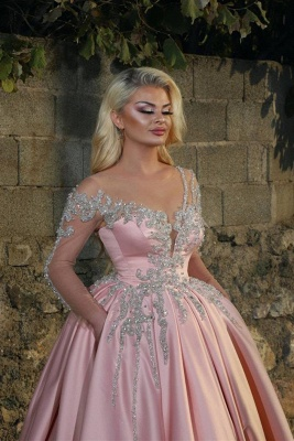 Off the Shoulder Long Sleeves Appliques Pink Ball Gown Prom Dresses_2