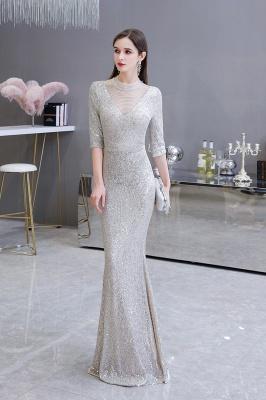 Jewel Neck Half Sleeves Open Back Floor Length Glitter Fitted Prom Dresses_5