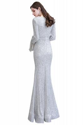 V-neck Long Sleeves Fitted Floor Length Burgundy Sequin Prom Dresses_30