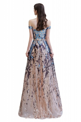Off the Shoulder Sweetheart Beaded Belted Sparkly A-line Prom Dresses_16