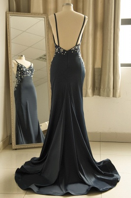 Spaghetti Strap V Neck Backless Crystal Sheath Floor Length Prom Dresses_3