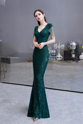 V-neck Cap Sleeves Floor Length Emerald Fitted Sequin Prom Dresses_9
