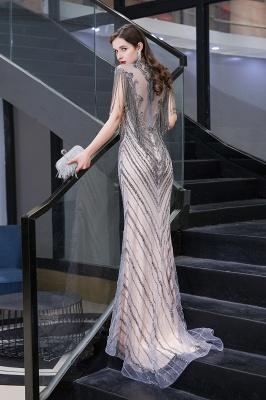 High Neck Short Sleeves Sheer Beaded Fitted Glittering Prom Dresses_6