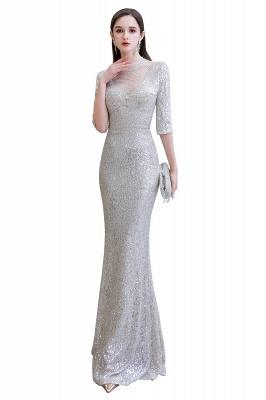 Jewel Neck Half Sleeves Open Back Floor Length Glitter Fitted Prom Dresses_15