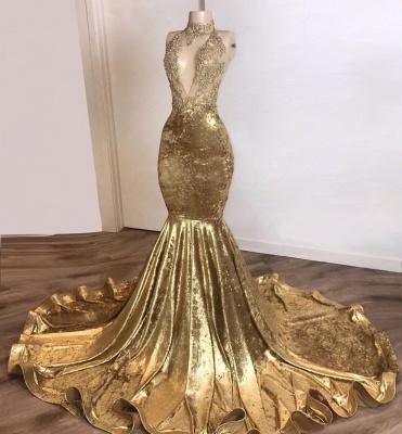 Spaghetti Straps V-neck Appliques Mermaid Velvet Brown Prom Dresses_2