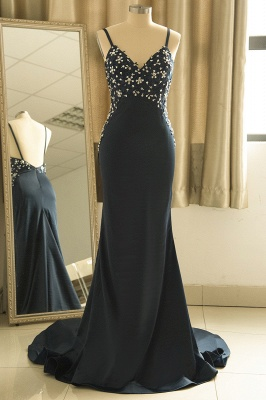 Spaghetti Strap V Neck Backless Crystal Sheath Floor Length Prom Dresses_1