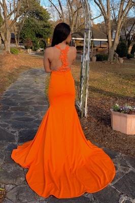 Jewel Sheer Sleeveless Appliques Side Slit Orange Mermaid Prom Dresses_2