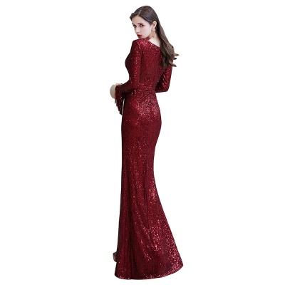 V-neck Long Sleeves Fitted Floor Length Burgundy Sequin Prom Dresses_27