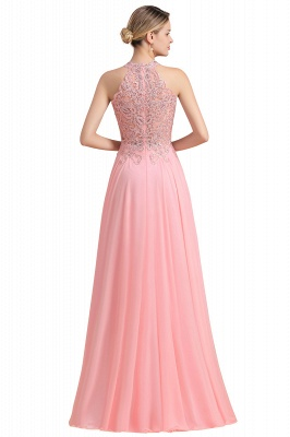Halter Full Back Applique Beaded Pearls Chiffon A Line Prom Dresses_24