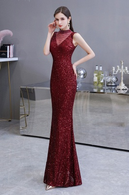 High Neck Sleeveless Floor Length Sparkly Sequin Fitted Prom Dresses_4