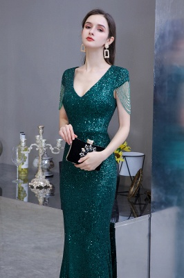 V-neck Cap Sleeves Floor Length Emerald Fitted Sequin Prom Dresses_6