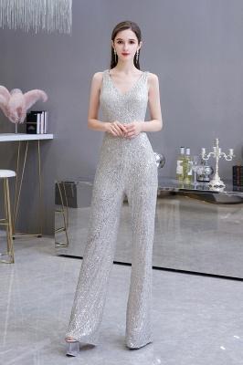 Women's Fashion V-neck Straps Sparkly Sequin Prom Jumpsuit_3