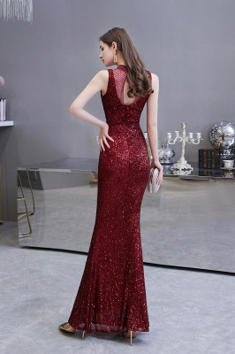 High Neck Sleeveless Floor Length Sparkly Sequin Fitted Prom Dresses_5