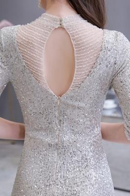 Jewel Neck Half Sleeves Open Back Floor Length Glitter Fitted Prom Dresses_7