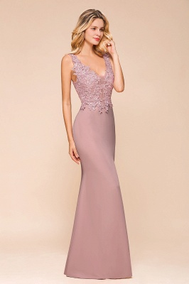 Dusty Pink Mermaid Lace Prom Dress Long Sleeveless Evening Gowns_5