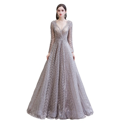 V-neck Long Sleeves Floor Length Lace A-line Gorgeous Prom Dresses_11