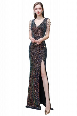 V-neck Sleeveless Floor Length Thigh Slit Fitted Prom Dresses_1