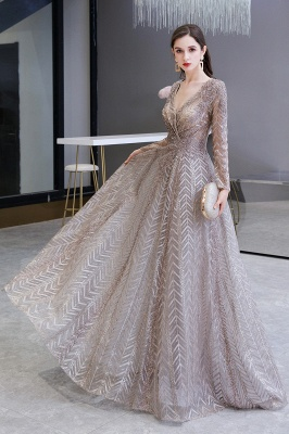 V-neck Long Sleeves Floor Length Lace A-line Gorgeous Prom Dresses_4