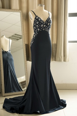 Spaghetti Strap V Neck Backless Crystal Sheath Floor Length Prom Dresses_4