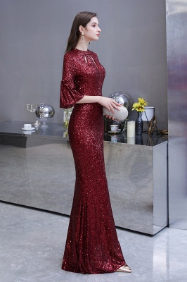 Jewel Keyhole Half Sleeves Floor Length Sequin Burgundy Prom Dresses_9