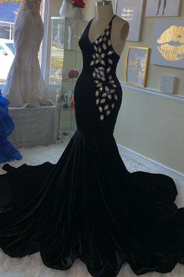 Spaghetti Straps V-neck Rhinestone Mermaid Black Velvet Prom Dresses_1