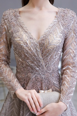 V-neck Long Sleeves Floor Length Lace A-line Gorgeous Prom Dresses_6