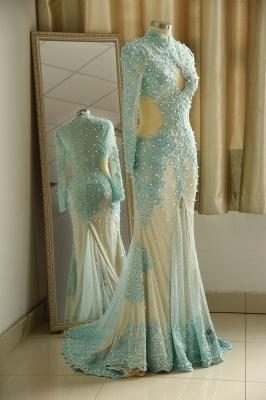 Elegant Long Sleeve High Neck Applique Floor Legnth Sheath Prom Dresses_4