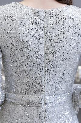 V-neck Long Sleeves Fitted Floor Length Burgundy Sequin Prom Dresses_15