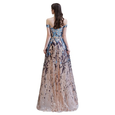 Off the Shoulder Sweetheart Beaded Belted Sparkly A-line Prom Dresses_14