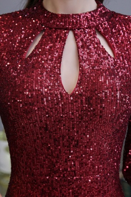 Jewel Keyhole Half Sleeves Floor Length Sequin Burgundy Prom Dresses_10