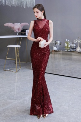 High Neck Sleeveless Floor Length Sparkly Sequin Fitted Prom Dresses_6