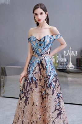 Off the Shoulder Sweetheart Beaded Belted Sparkly A-line Prom Dresses_5