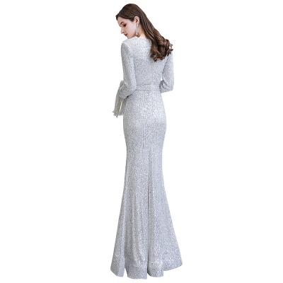 V-neck Long Sleeves Fitted Floor Length Burgundy Sequin Prom Dresses_31