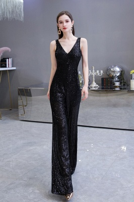 Women's Fashion V-neck Straps Sparkly Sequin Prom Jumpsuit_12