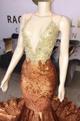 Spaghetti Straps V-neck Appliques Mermaid Velvet Orange Prom Dresses_2