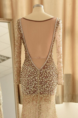 Gold Graceful Long Sleeve Applique Beaded Sheath Floor Length Prom Dresses_7