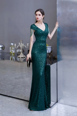 V-neck Cap Sleeves Floor Length Emerald Fitted Sequin Prom Dresses_5
