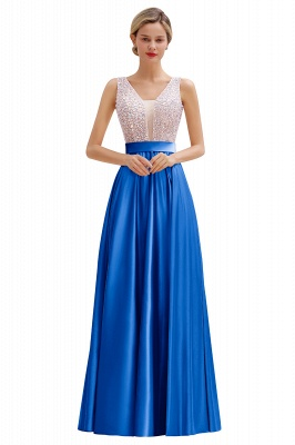 Pink Straps V Neck Beading Crystals A Line Floor Length Ruffles Prom Dresses | Backless Sash Evening Dresses_2