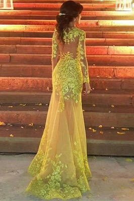 Jewel Long Sleeves Appliques Yellow Prom Dresses with Train_2