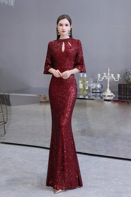 Jewel Keyhole Half Sleeves Floor Length Sequin Burgundy Prom Dresses_2
