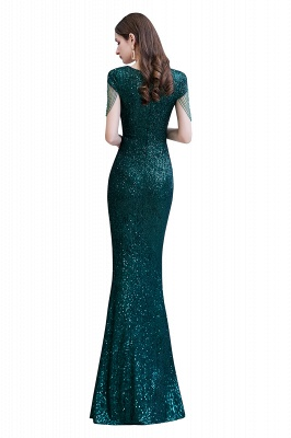 V-neck Cap Sleeves Floor Length Emerald Fitted Sequin Prom Dresses_14