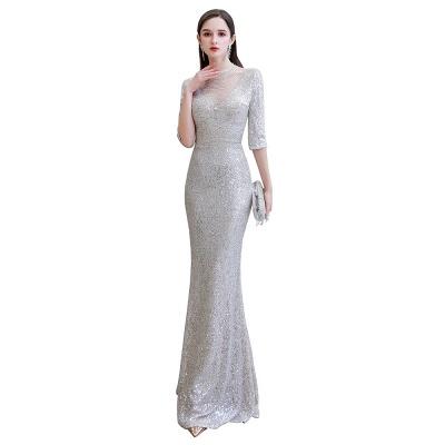 Jewel Neck Half Sleeves Open Back Floor Length Glitter Fitted Prom Dresses_1