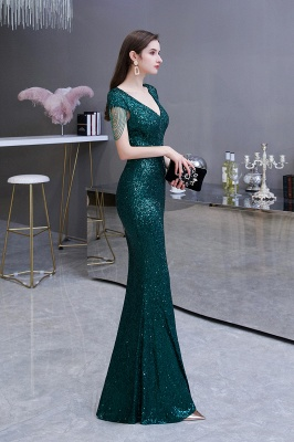 V-neck Cap Sleeves Floor Length Emerald Fitted Sequin Prom Dresses_4
