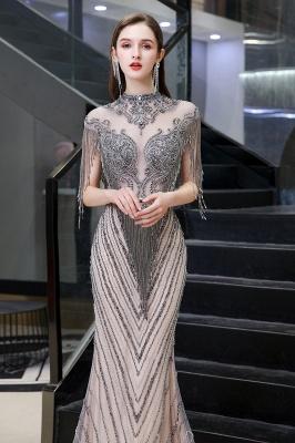 High Neck Short Sleeves Sheer Beaded Fitted Glittering Prom Dresses_8